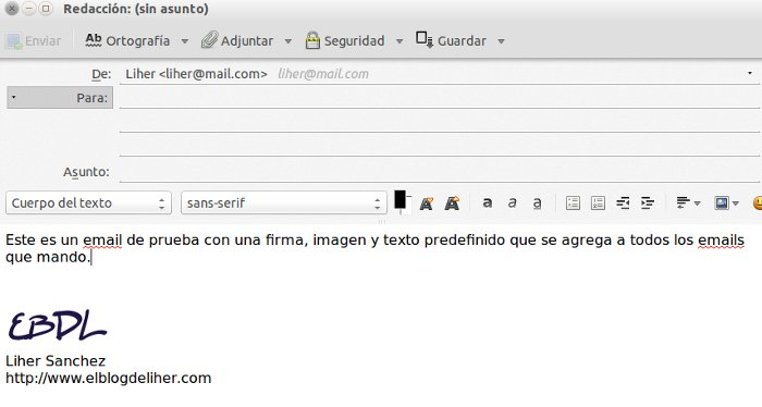 email con firma y texto